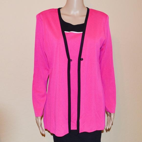 f5e6733c23048d Misook Sweaters   Hot Pink Black 2 Piece Knit Twin Set   Poshmark